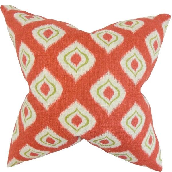 Dai Ikat Feather Filled Tomato Throw Pillow