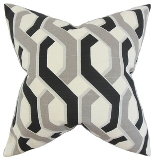 Chauncey Geometric Feather Filled Grey Black Throw Pillow