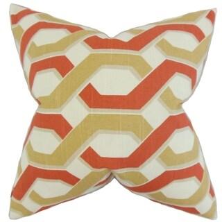 Chauncey Geometric Feather Filled Russett Throw Pillow