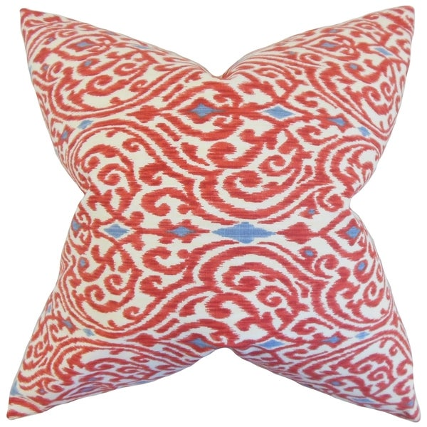 Ennis Ikat 18-inch Feather Filled Red 18-inch Throw Pillow