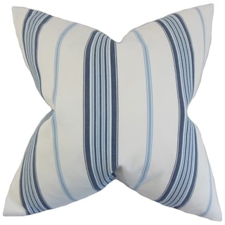 Halsey Stripes 18-inch Feather Filled Blue 18-inch Throw Pillow