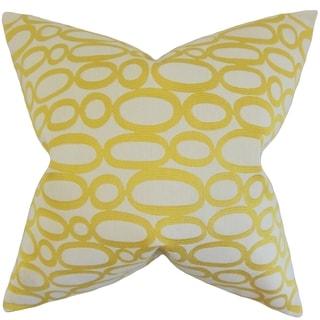 Razili Geometric Feather Filled Lemon Throw Pillow