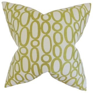 Razili Geometric 18-inch Feather Filled Green 18-inch Throw Pillow