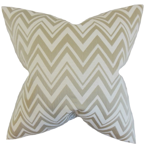 Eelia Zigzag Feather Filled Straw Throw Pillow