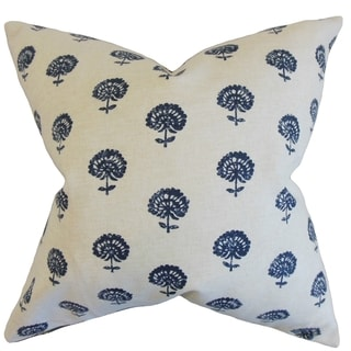 Londyn Floral 18-inch Feather Filled Indigo 18-inch Throw Pillow