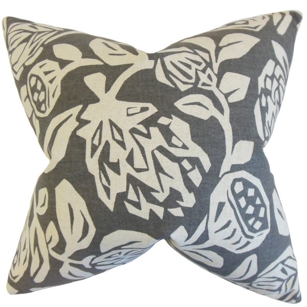 Izzy Floral Feather Filled Grey Throw Pillow
