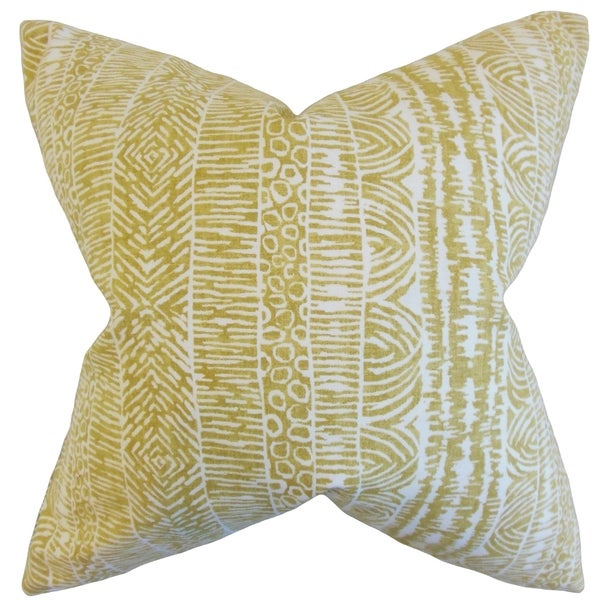 Jem Geometric Feather Filled Amber Throw Pillow