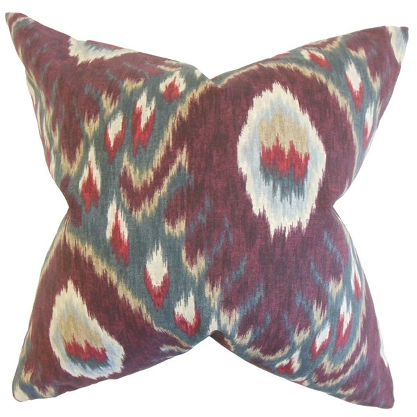 Dai Ikat Feather Filled Currant Throw Pillow