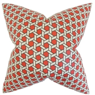 Destry Geometric Feather Filled Red 18-inch Throw Pillow