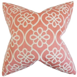 Indre Geometric 18-inch Feather Filled Coral 18-inch Throw Pillow
