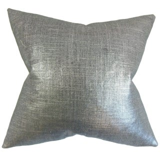 Florin Solid 18-inch Feather Filled Coal 18-inch Throw Pillow