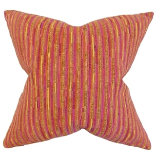Qiturah Stripes Feather Filled Pink Throw Pillow