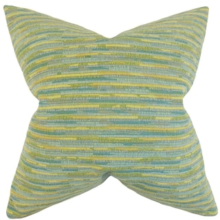Qiturah Stripes 18-inch Feather Filled Sea Glass 18-inch Throw Pillow