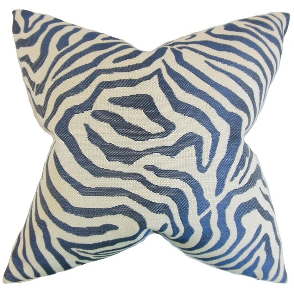 Oluchi Zebra Print 18-inch Feather Filled Marine 18-inch Throw Pillow