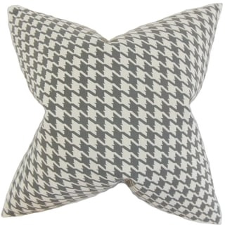 Presley Houndstooth 18-inch Feather Filled Mineral 18-inch Throw Pillow