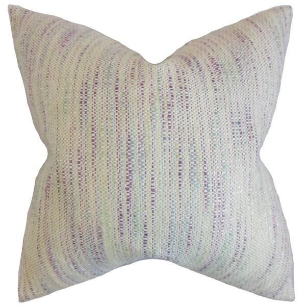 Lakota Stripes Feather Filled Plum Throw Pillow