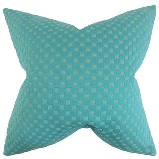 Kasen Solid 18-inch Feather Filled Teal 18-inch Throw Pillow