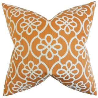 Indre Geometric Feather Filled Orange Throw Pillow