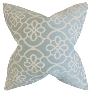 Indre Geometric Feather Filled Sea Foam Throw Pillow