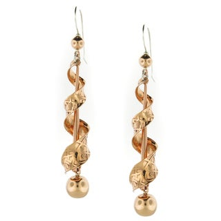 Handcrafted Textured Copper Modern Spiral Dangle Earrings (Mexico)