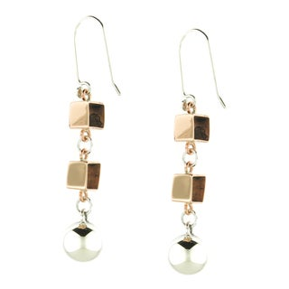 Handcrafted .925 Sterling Silver Ball and Copper Cubes Dangle Earrings (Mexico)