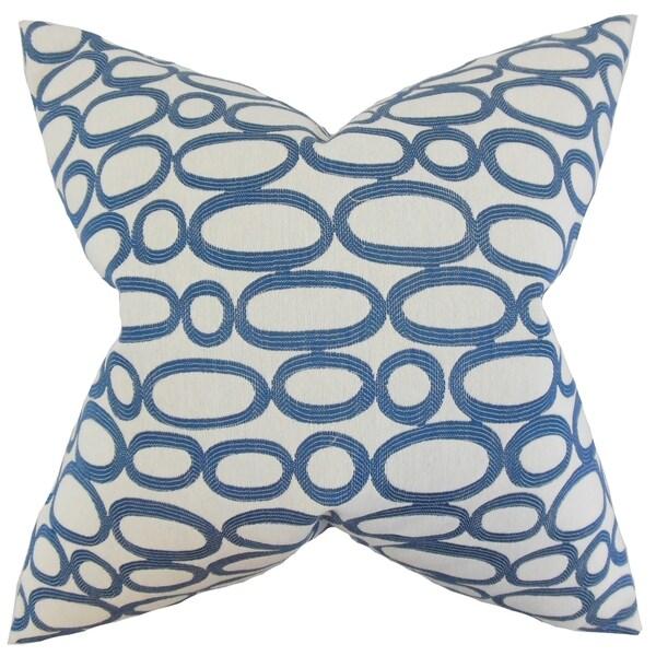 Razili Geometric Feather Filled Blue Throw Pillow