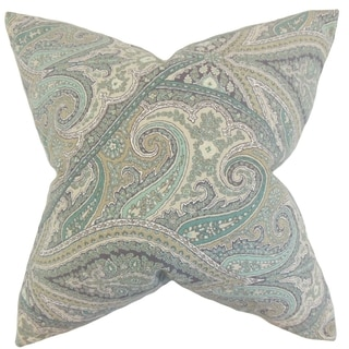 Uma Paisley 18-inch Feather Filled Aquamarine 18-inch Throw Pillow