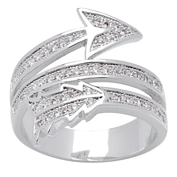 "Simon Frank Silvertone 3-Row ""Arrow of Love"" Pave CZ Ring"