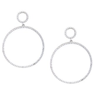 Simon Frank Silvertone Pave Cubic Zirconia Double Circle Drop Earrings