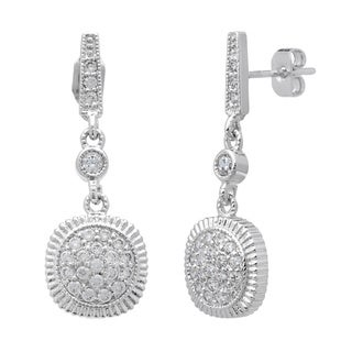 Simon Frank Silvertone Micro-pave Cubic Zirconia Drop Earrings