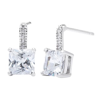 Simon Frank Silvertone Princess-cut Micro-pave Cubic Zirconia Drop Earrings