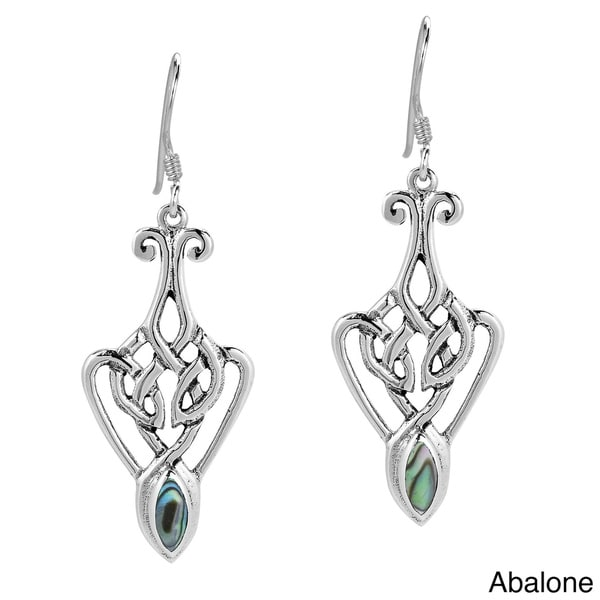 Alluring Celtic Lace Stone Embed .925 Silver Earrings (Thailand)