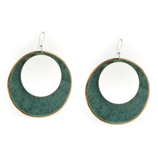 Handcrafted Large Shiny Copper and Patina Hoop Earrings (Mexico)