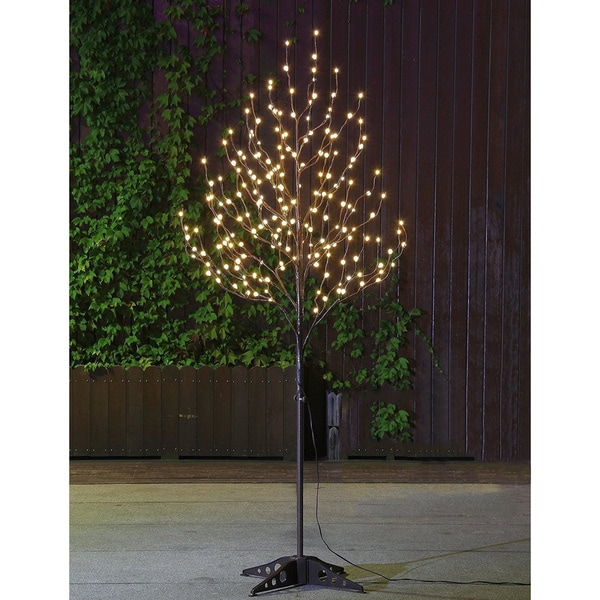 Lightshare 6-foot Warm White LED Frosted Ball Tree with Free Gift: 20L LED C7 Decoration Light
