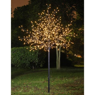 Lightshare 8-foot Warm White LED Frosted Ball Decorative Tree with 70L LED Solar Light