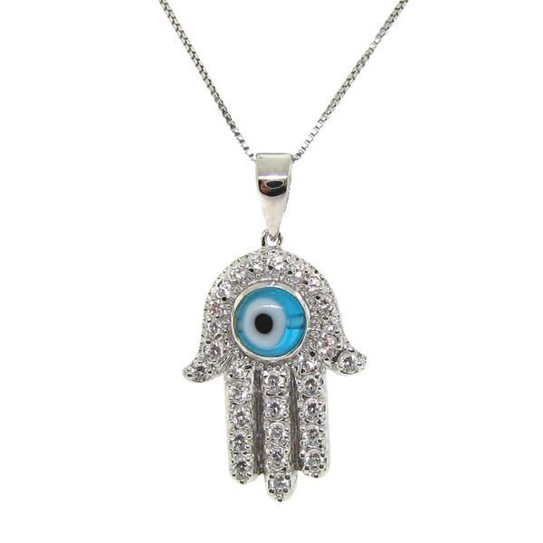 Gioelli Sterling Silver Sparkling Hamsa Pendant Necklace