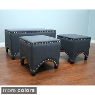 Nail Heads Bench and 2-piece Ottoman Set