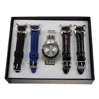 Men's Watch with 5-piece Interchangeable Watch Bands Gift Set