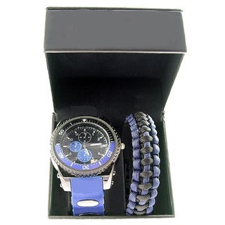 Men's Black and Navy Silicone Watch with Paracord Bracelet Gift Set
