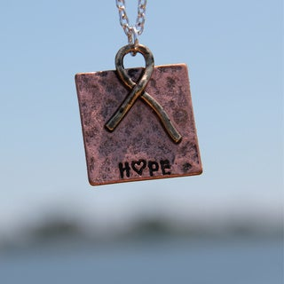 Hammered Copper 'Supporting Hope' Plate Pendant Necklace