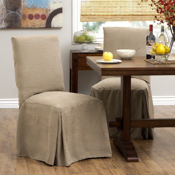 Tailor Fit Relaxed Fit Smooth Suede Tall Dining Chair Slipcover Set Of 2