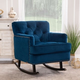 ABBYSON LIVING Clara Navy Blue Velvet Nailhead Trim Rocker