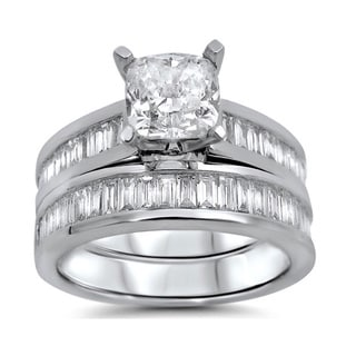 14k White Gold 2 1/10ct TDW Cushion Baguette Diamond Bridal Ring Set (G-H, SI1-SI2)