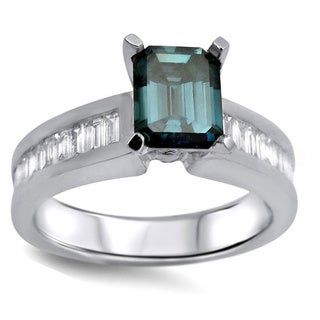 14k White Gold 1 1/4ct Blue Emerald-cut Baguette Side-stone Diamond Ring (G-H, SI1-SI2)