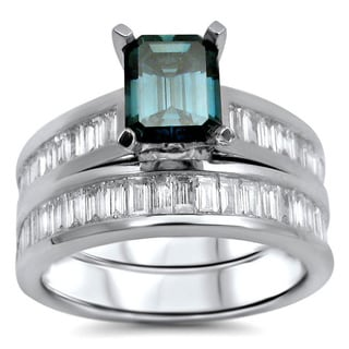 Noori 14k White Gold 1 9/10ct TDW Blue Emerald-cut Diamond Bridal Ring Set (G-H, SI1-SI2)