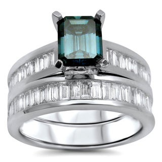 14k White Gold 1 9/10ct TDW Blue Emerald-cut Diamond Bridal Ring Set (G-H, SI1-SI2)