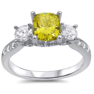 Noori 18k White Gold 1 3/5ct Cushion Fancy Yellow Three-stone Diamond Ring (F-G, SI1-SI2)