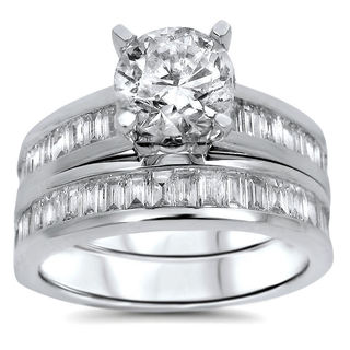 14k White Gold 2 1/10 Carat Round Baguette Diamond Engagement Bridal Ring Set (G-H, SI1-SI2)