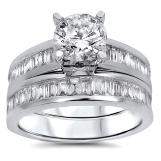 14k White Gold 1 4/5ct TDW UGL-certified Round Baguette Diamond Engagement Bridal Ring Set (G-H, SI1-SI2)