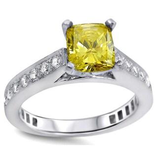 Noori 18k White Gold UGL-certified Yellow and White Diamond Engagement Ring (G-H, SI1-SI2)